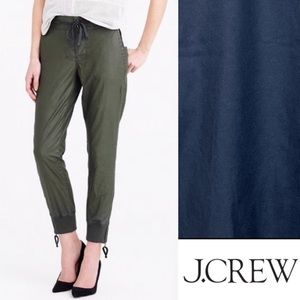 New J.Crew Coated Cavalry Twill Pants/Joggers Pull-on in BLUE Size 2